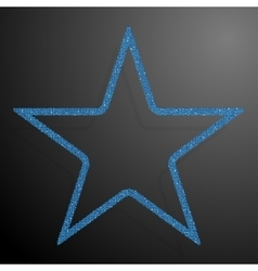 Frame blue sequins star glitter sparkle vector