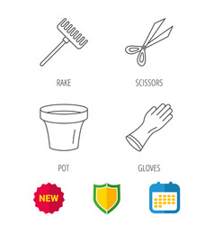 gloves scissors and pot icons vector image
