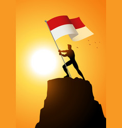 Indonesia or monaco flag bearer vector