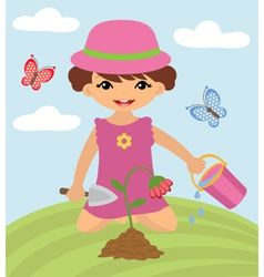 Little girl gardening vector image