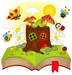 Open book with house stump and insects vector