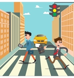People on the crosswalk businessman hurry to work vector