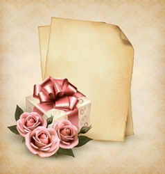 Retro holiday background with pink roses and gift vector image vector image