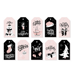 set of christmas greeting tags with hand vector image