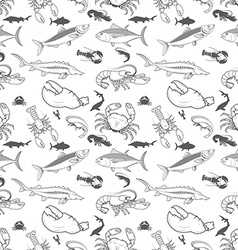 Set of the fish crabs shrimps lobsters seamless vector image