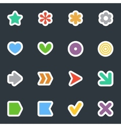 Simple flat style stickers icon set on dark vector image