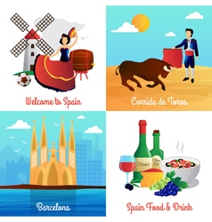 Spain travel concept 4 flat icons square vector