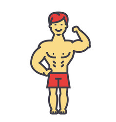 Strong man bodybuilder muscles concept line vector