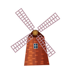 Traditional old windmill building icon vector