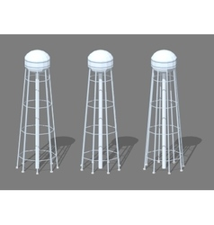 White tall water tower vector