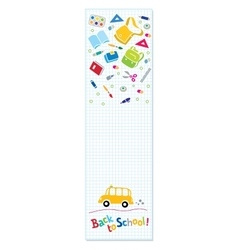 Back to school Vertical banner or bookmark vector image
