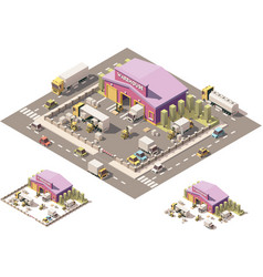 Isometric low poly warehouse building icon vector