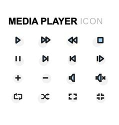 Flat media player icons set vector