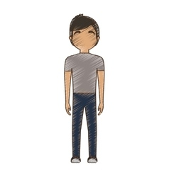 Drawing avatar man tshirt and jeans standing vector