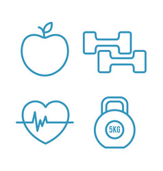 Fitness lifestyle elements icons vector