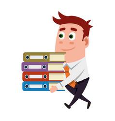 Office worker carrying folders vector