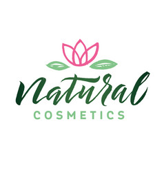 Natural cosmetics logo beauty lettering vector