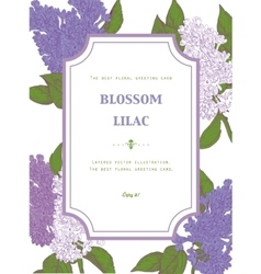 Vintage floral greeting card with blooming lilac vector