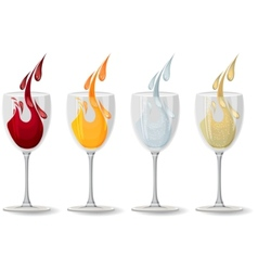 Glasses with different drinks on white vector