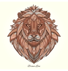 Lion brown ornament ethnic vector