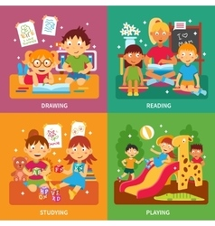 Kindergarten concept set vector