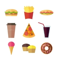 Fast food colorful flat design icons set vector