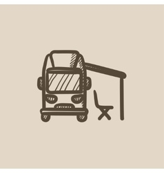 Motorhome with tent sketch icon vector