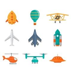 Aircraft icons flat vector