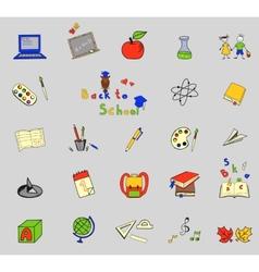 Back to school big doodles set on lined paper vector