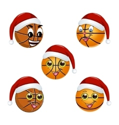 Basketball ball in the hat of Santa Claus vector image