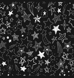 Beautiful seamless pattern hand drawn doodle stars vector