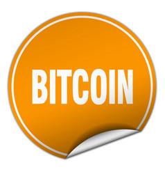 Bitcoin round orange sticker isolated on white vector