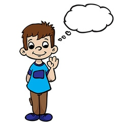 boy wave with thought bubble vector image vector image