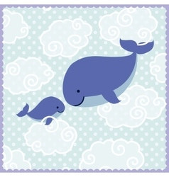 Card with cute whales in clouds on blue dotted vector