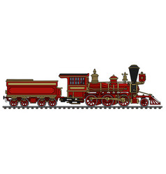 classic red wild west locomotive vector image vector image