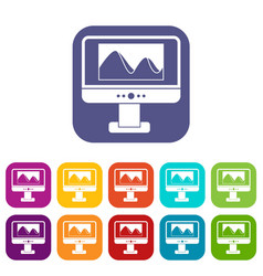 Computer monitor with photo on screen icons set vector