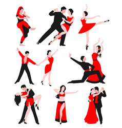 Couples dancing latin american romantic person and vector