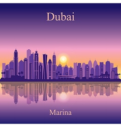 Dubai marina silhouette on sunset background vector