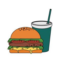 Fast food hamburger icon vector