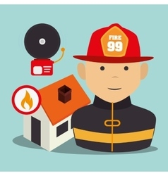 Firefighter man cartoon vector