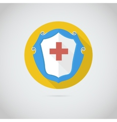 Flat icon with red cross vector image vector image