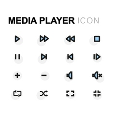 Flat media player icons set vector