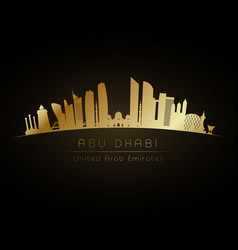 Golden logo abu dhabi city skyline vector