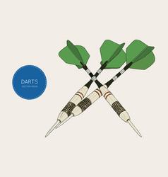 green arrow darts sketch vector image