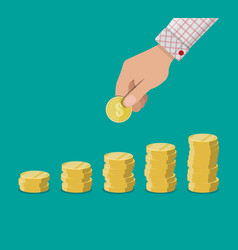 hand holding golden coin vector image vector image