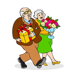 Happy seniors couple with a bouquet of flowers vector