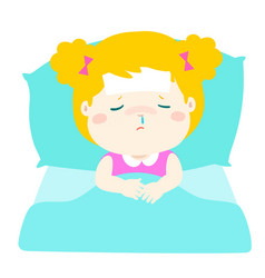 Little sick girl sleep in bed vector