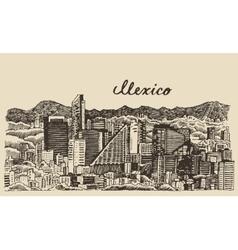 Mexico skyline vintage engraved sketch vector
