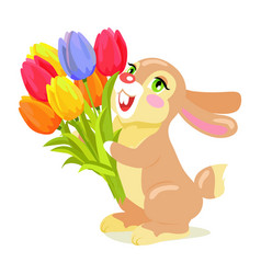 Milk chocolate bunny with luxury bouquet of tulips vector