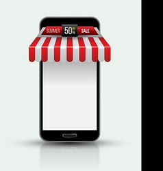 Mobile phone Mobile store concept with awning vector image vector image